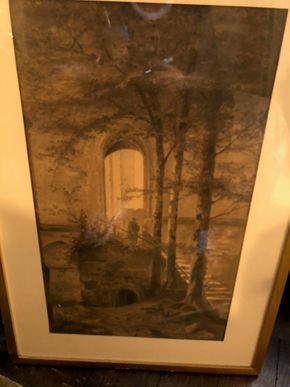 Lot 029 Unsigned Antique Drawing Man in Archway