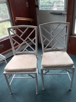 Lot 014 Pair Of Metal Chairs With Vinyl Cushions AS IS 36H x 16 W x 18L PICK UP IN NORTHPORT
