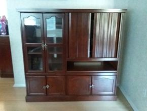 Lot 038 Entertainment Center Cabinet 55.5H x 18.5 Wx 58L PICK UP IN ROCKVILLE CENTRE