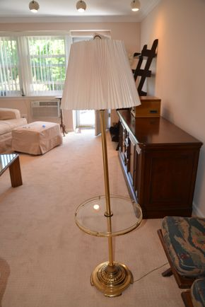 Lot 010 Brass Standing Floor Lamp w/Glass Table 60H x 16W x 16L PICK UP IN GLEN COVE, NY