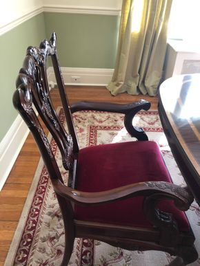 Lot 009 PP/PUP Lot of 2 Chippendale Mahogany Arm Chairs 40H x 26W x 19D PICK UP IN GARDEN CITY