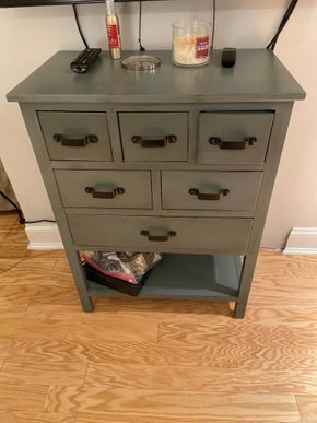 Lot 004 PU 6 Drawer painted cabinet metal handles 25 IN L X 15 IN W X 24 IN H PICK UP IN GARDEN CITY