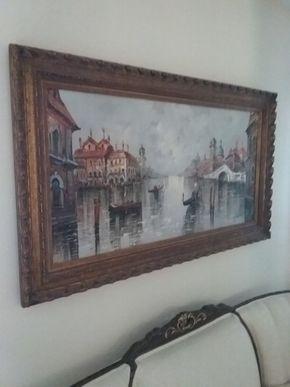 Lot 019 1950s Framed Oil on Canvas Signed Vincenzi  2ft x 4ft PICK UP IN N MASSAPEQUA