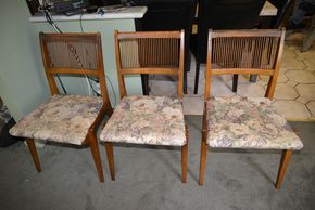 Lot 003 Pick Up Lot of 6 Slat Wood Upholstered Dinning Chairs 34H x 19W x 18.75L PICK UP IN FLORAL PARK, NY