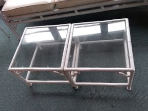 Lot 011 Pair Of Glass and Metal Tables 13.5H x 18W x 18L PICK UP IN NORTHPORT