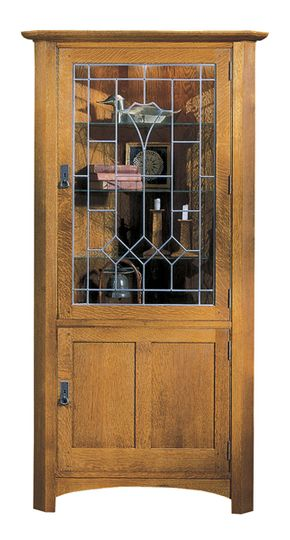 Lot 004 Lot of 1 LJ Stickley Corner Cabinet Red Oak with Art Glass Dark Onondaga hardware 78H x 38W x 28D
