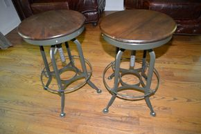 Lot 003 Restoration Hardware 1940S Vintage Toledo Barstool Lot of 2 Overall 25-29H x 15.5W x 15.5D Footrest 9H  PICK UP IN PORT WASHINGTON,NY