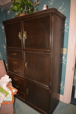 Lot 020 Armoire Wood 6 drawer and 3 storage spaces 72H x 47 x 20.5L  PICK UP IN GARDEN CITY