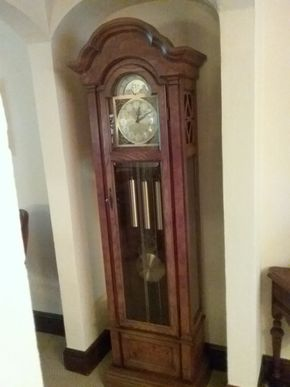 Lot 025 Heritage Grandfather Clock 75.5 x 11 x 23.5  PICK UP IN GARDEN CITY
