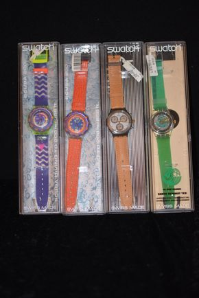 Lot 022 Lot of 4 Swatch Watches PICK UP IN ROCKVILLE CENTRE, NY