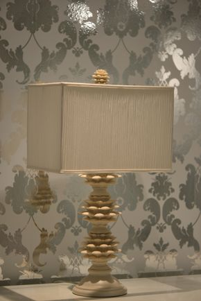 Lot 037 Artichoke Lamp by SHINE HOME with Pleated Silk Shade 21H PICK UP IN NEW HAVEN, CT