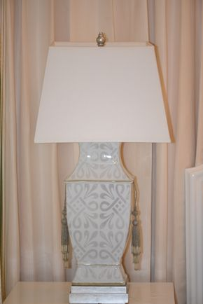 Lot 029 Pair of Side Table Lamps in painted porcelin by SHINE HOME  w/ Shades PICK UP IN NEW HAVEN, CT