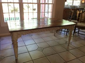 Lot 013 Two Toned White/Pine Wood Farm Table 30H x 40W x 72L  PICK UP IN CENTERPORT