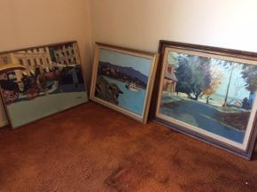 Lot 009 LOT Of 3 Oil On Canvas Framed Signed Coch 28X22.5 and  26X20. and 30X24  ITEMS TO BE PICKED UP IN WEST HEMPSTEAD