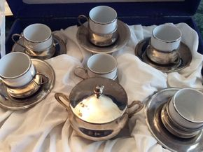Lot 064 Silver Plated Demitasse Set ITEM CAN BE PICKED UP IN GARDEN CITY