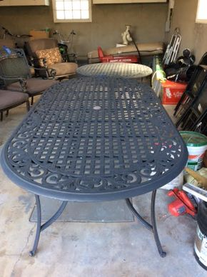 Lot 028 Cast Iron Oblong Outdoor Table 84Lx 42Wx27T ITEM MUST BE PICKED UP IN GARDEN CITY