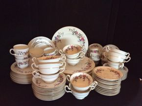 Lot 001 Lot Of Wedgewood Bone China Service For 12 Devon Sprays Pattern. ITEMS MUST BE PICKED UP IN WEST HEMPSTEAD