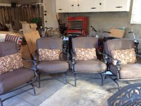 Lot 031 Lot Of 4 Cast Iron Outdoor Rocking Chairs With Cushions 35Tx 28.5W 27D ITEMS MUST BE PICKED UP IN GARDEN CITY