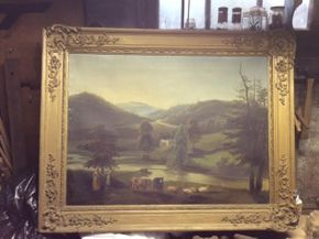 Lot 045 19th Century Pastoral Scene Oil On Canvas  ITEM CAN BE PICKED UP IN DOUGLASTON