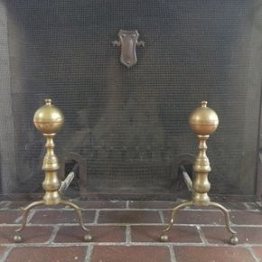 Lot 013 Pair of 1800 Brass Andirons ITEM CAN BE PICKED UP IN OCEANSIDE