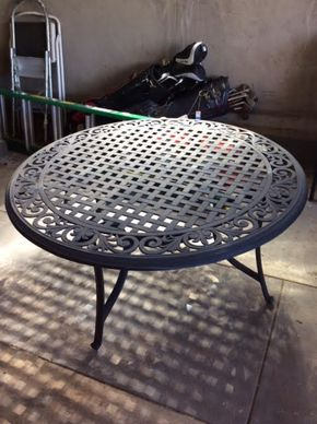 Lot 030 Round Cast Iron Outdoor Table 48 Inches In Diameter ITEM MUST BE PICKED UP IN GARDEN CITY