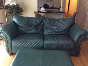 Lot 015 Leather Sofa 92x29x42 ITEMS MUST BE BE PICKED UP IN GARDEN CITY