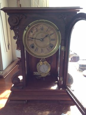 Lot 052 Ansonia Carved Wood Shelf Clock  ITEM CAN BE PICKED UP IN DOUGLASTON