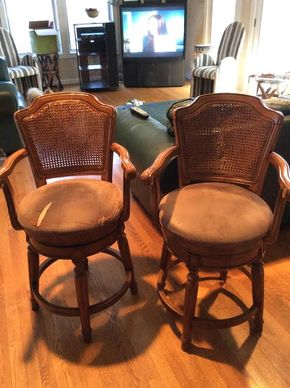 Lot 044 Pair Of Wood and Cane Swivel Bar Stools Damage To The Caning Must Be Repaired 39 Inches Tall ITEMS MUST BE PICKED UP IN GARDEN CITY