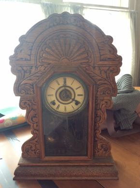 Lot 056 Carved Wood Shelf Clock  ITEM CAN BE PICKED UP IN DOUGLASTON