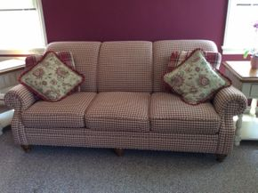 Lot 100 Custom Clayton Murphy 3 Seat Fabric Sofa With Pillows ITEM MUST BE PICKED UP IN FRANKLIN SQUARE