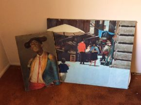 Lot 008 Lot Of 2 Oil On Canvas Not Framed Signed Coch 27x17  and 32x40 ITEMS TO BE PICKED UP IN WEST HEMPSTEAD