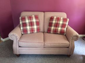 Lot 101 Custom Clayton Murphy Loveseat With Pillows ITEM MUST BE PICKED UP IN FRANKLIN SQUARE