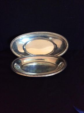 Lot 003 Pair Of Sterling Silver Oblong Bowls ITEM MUST BE PICKED UP IN WEST HEMPSTEAD