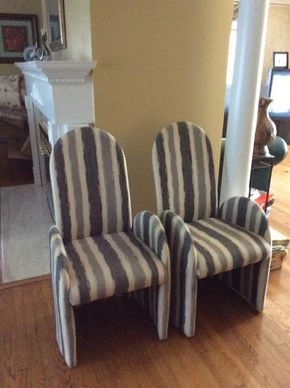 Lot 043 Lot Of 6 Custom Fabric Dining Chairs 42Tx 21Wx 18D ITEMS MUST BE PICKED UP IN GARDEN CITY
