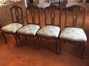 Lot 007 Lot Of 4 Dining Room Embroidered Carved Wood Chairs ITEMS TO BE PICKED UP IN WEST HEMPSTEAD