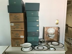 Lot 026 Lot Of Lenox China Classic Edition. Fifteen sets of Five Piece Sets, Four Fruit Bowls, Four Soup Bowls, One Round Platter, Two Oval Platters,One Gravy Boat With Platter. PICK UP IN STONY BROOK.