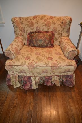 Lot 006 Upholstered Armchair 35.5H x 42.5W x 34L PICK UP IN PORT WASHINGTON, NY
