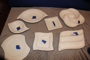 Lot 009 Lot of 7 white ceramic decorative plates/platters  AS IS ITEMS CAN BE PICKED  UP IN WESTBURY