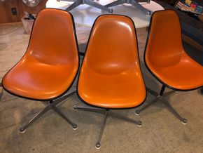 Lot 043 PU Lot of 3 Herman Miller Orange Upholstered Shell Chairs 19w x 35h PICK UP IN RVC