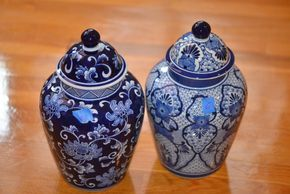 Lot 006 PAIR OF GINGER JARS 14 INCHES TALL PICK UP IN PORT WASHINGTON