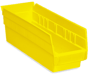 Lot 016 Box of Uline 20 Plastic Shelf Bins 4x12x4
