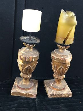 Lot 153 Pair of Wood Carved Candlestick Holders 10.5Hx4.5W