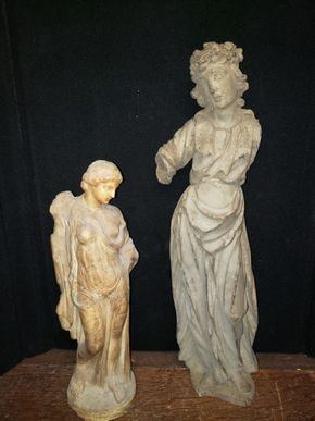Lot 024 Lot of 2 Greek Style Statues 1 Stone/1 Wood AS IS PICK UP IN MINEOLA,NY