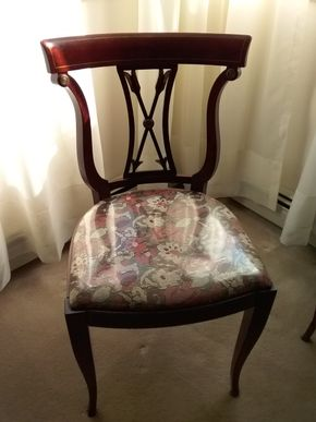 Lot 005 Rway Mahogany and Upholstered Chair 32.5 x 16.5 x 18 PICK UP IN N MASSAPEQUA