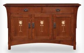 Lot 006 Lot of 1 LJ Stickley Collector Harvey Ellis 3 Door Red Oak Console Onondaga finish 58Lx34Hx20D