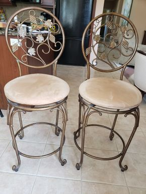 Lot 003 PU/Lot of 2Metal/Upholstered Counter Stools Approx.Dimensions 44H x 17.5W PICK UP IN EASTPORT,NY