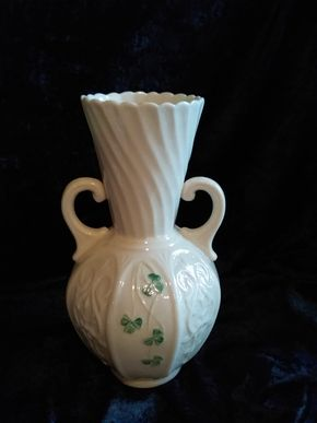 Lot 005 Belleek Vase 8.5 Inches Tall PICK UP IN CEDARHURST