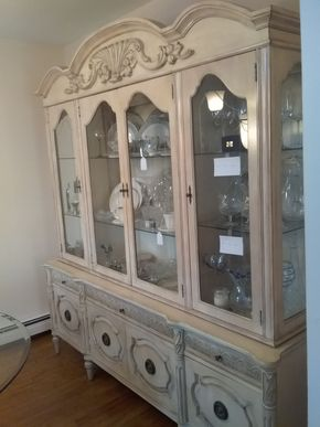 Lot 015 Genova Furniture 2 Piece China Cabinet and Buffet 87H x 20W x 81L PICK UP IN BELLE HARBOR