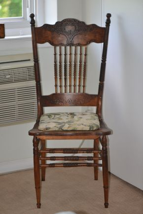 Lot 034 Wood Spindle Back Chair w/Upholstered Seat 41H x 36W x 18L PICK UP IN GLEN COVE, NY