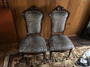 Lot 019  PU Pair of Carved Upholstered Chairs PICK UP IN EAST MEADOW
